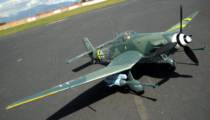 2 4G Extreme Detail 5-CH AirField RC Stuka 1400MM Warbird Plane w