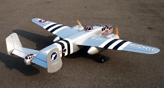 B25 Mitchell Silver Nitro RC Plane